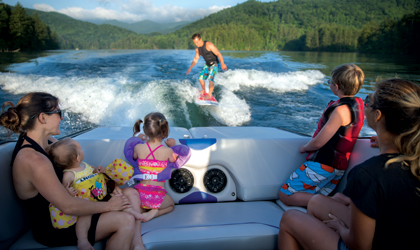 family wakeboarding